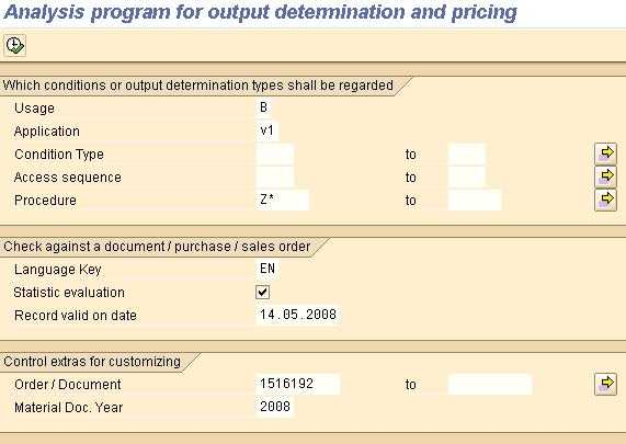 SAP Analysis program pricing, output determination. Selection screen